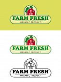 Farm Fresh Food Label with Red Barn Vector Illustration. Shaded, flat design and black and white var