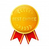 golden medal with red ribbon and best choice text