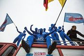 BERLIN, GERMANY - MAY 23, 2014: Activists rally in support of AfD (Alternative for Germany) - politi