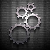 metal background with gears. vector eps10