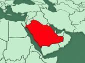 Map of worlds. Saudi Arabia. 3d