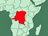 Map of worlds. Democratic Republic of Congo. 3d