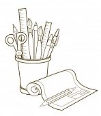 School stationery. Back To School. Vector Illustrations