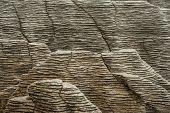 Detail of pancake rock in Punakaiki, Paparoa national park, New Zealand