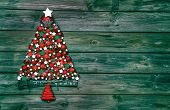 Christmas Decoration In Red And Green: Tree Of Balls On Wooden Background.