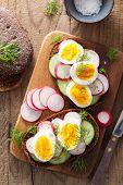 sandwich with egg radish cucumber