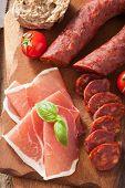 mediterranean snack chorizo parma tomatoes