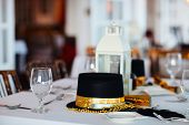 Beautiful table setting for Christmas party or New Year celebration in restaurant
