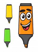 Cartoon smiling marker character