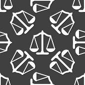 Scales balance web icon. flat design. Seamless gray pattern.