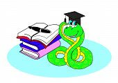 foto of green snake  - green snake is sitting next to the books and handle - JPG