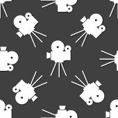 Videocamera web icon. flat design. Seamless gray pattern.