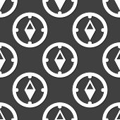 Compass web icon. flat design. Seamless gray pattern.