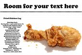 A genuine piping hot deep fried chicken leg isolated on white with nutritional information and room