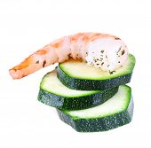 Fresh boiled prawns with avocado on white background isolated