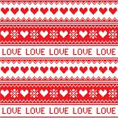 Nordic, winter love seamless red heart pattern