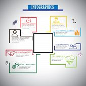 Flat Line Infographics Icons Set Of Management