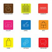 Flat Line Icons For Mobile Or Smartphone