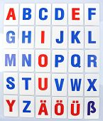 Learning alphabet letters close-up