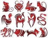 stock photo of zodiac sign  - Chinese zodiac signs - JPG