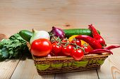 Close Up Of Various Colorful Raw Vegetables In A Basket