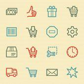 Shopping cart web icons, retro color