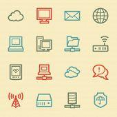 Cloud computing & internet web icons, retro color