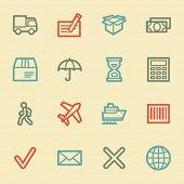 Delivery web icons, retro color