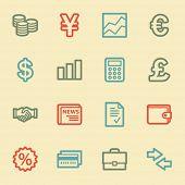 Finance web icons, retro color