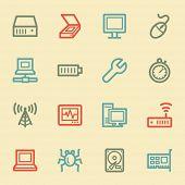 Computer components web icon set 2, retro color