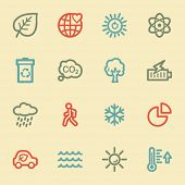 Green ecology web icon set 2, retro color