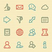 Social media web icons, retro color