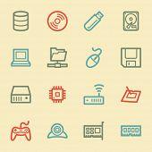 Computer components web icon set 1, retro color
