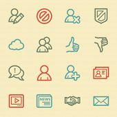 Community. Social media web icons, retro color