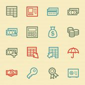 Finance and Banking web icons, retro color