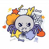 stock photo of kawaii  - Halloween kawaii print or card with cute doodle spider - JPG