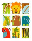 Flat African Animals Symbols Set