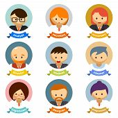 Office Cartoon Character Avatars with Ribbons