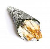 Eel Sushi Temaki Isiolated On White Background