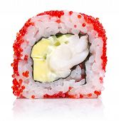 Sushi Roll With Red Caviar Isolated On White Background.