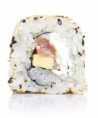 Sushi Roll With Sesame And Isolated On White