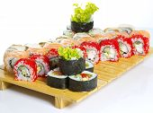 Sushi Roll Made Dish Isolated On White Background