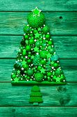 Christmas Decoration In Green: Tree Of Different Balls On Wood.