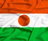 Niger Flag On A Silk Drape Waving