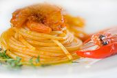 Pasta And Spicy Shrimps poster