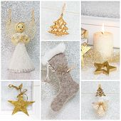 Collage Of Different Photos For Christmas - Idea For Decoration - Greeting Card