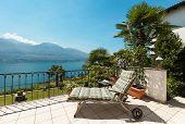 beautiful terrace of a villa on the lake