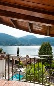 balcony of a house overlooking the lake