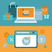 stock photo of trolley  - Vector internet shopping concept in flat style  - JPG