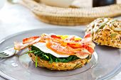Bacon ,egg And Spinach Sandwich Breakfast